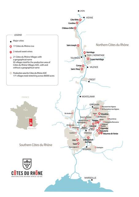 Wine map of the Cotes du Rhone wine region