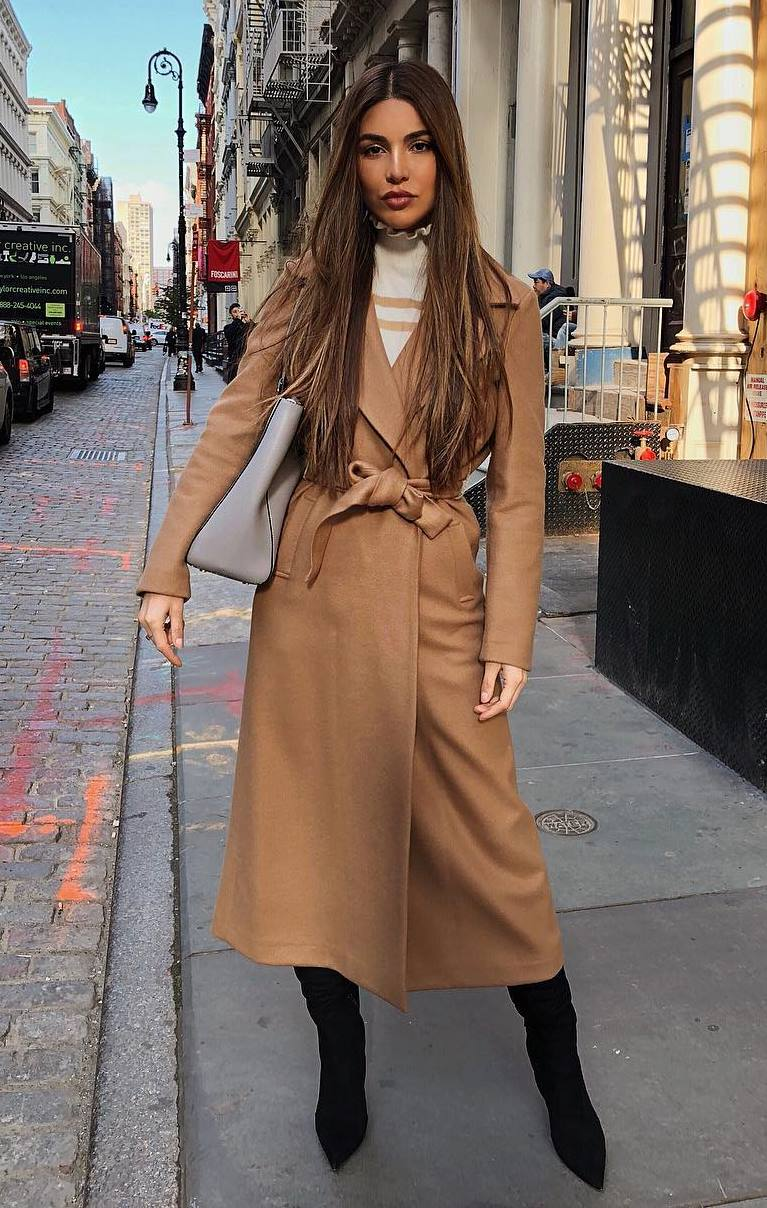 trendy winter outfit_brown coat + white top + bag + over knee boots