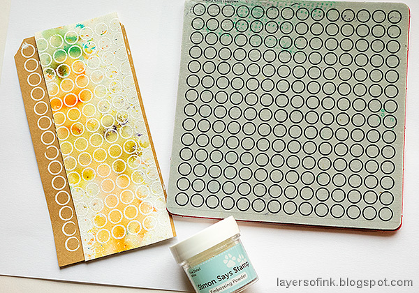 Layers of ink - Stitched Canvas Tag Tutorial by Anna-Karin Evaldsson. Stamp with Simon Says Stamp Circle Pattern.