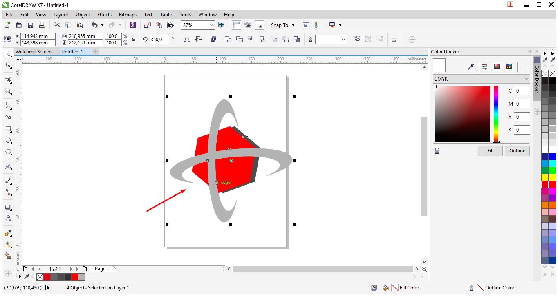Sekarang cara membuat perpotongan objek ellipse dengan objek segi ...