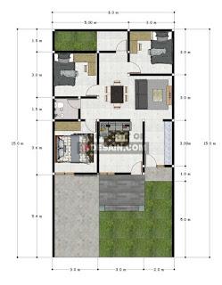 Denah Rumah Ukuran 8x15 3 kamar tidur Terbaru