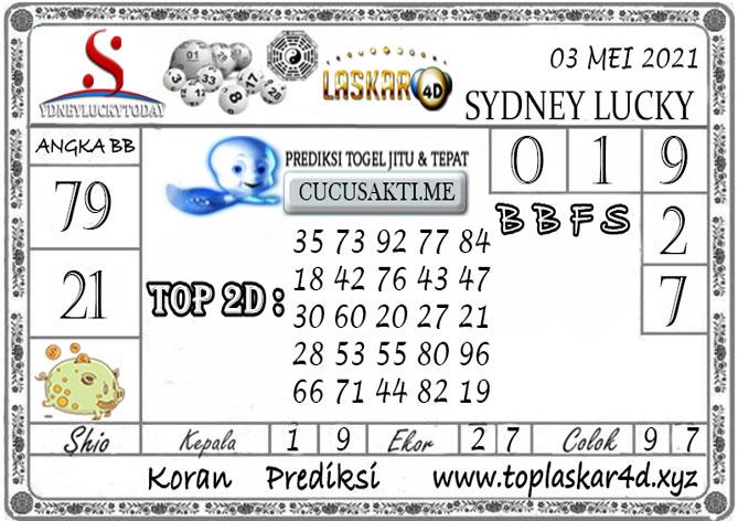 Prediksi Togel Sydney Lucky Today LASKAR4D 03 MEI 2021