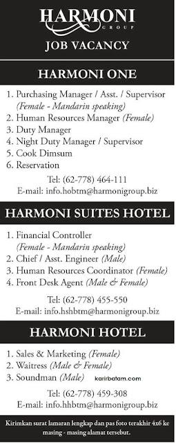 Lowongan Kerja Harmoni Group (Harmoni One, Harmoni Hotel, dan Harmoni Suites)