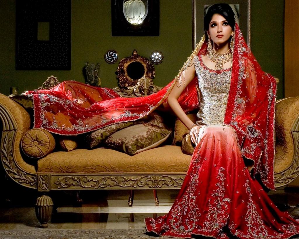 PAKISTANI BRIDAL WEARS (RED TYE & DYE SHARARA) - FASHION and CULTURE