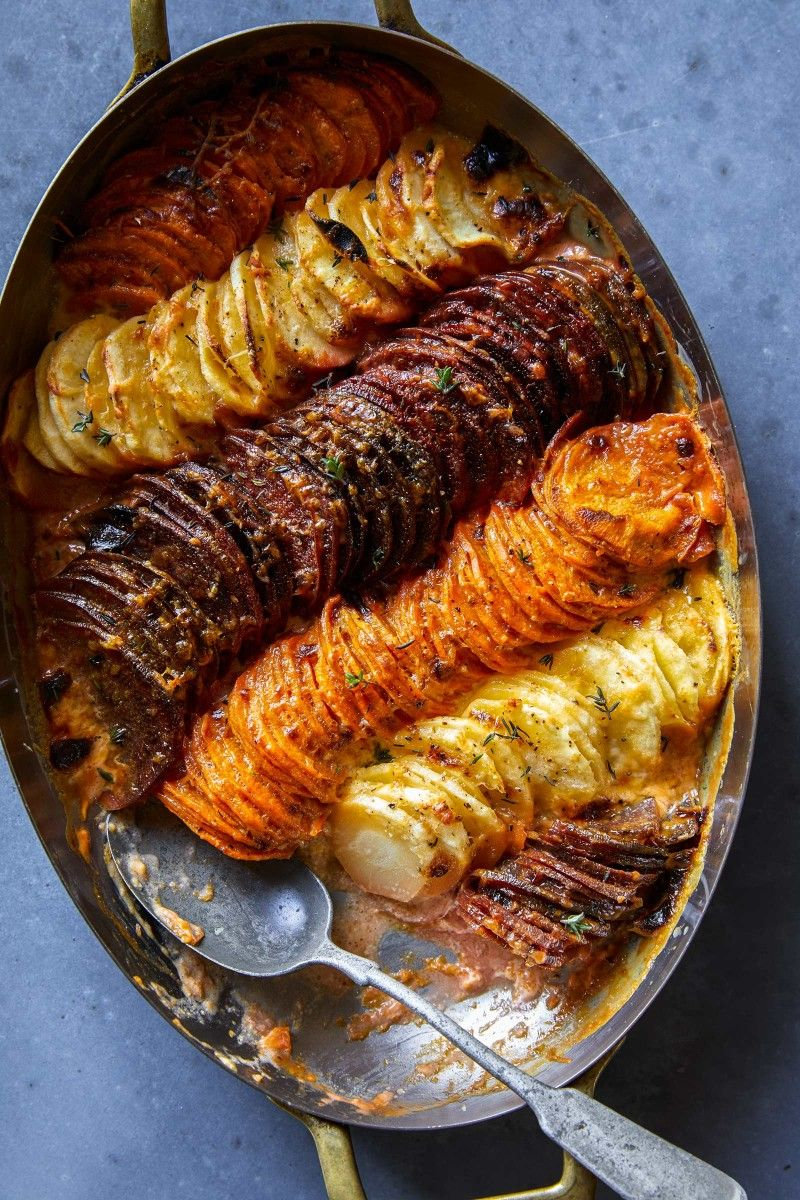 CHEESY ROOT VEGETABLE GRATIN #vegan #vegetable #breakfast #potato #food