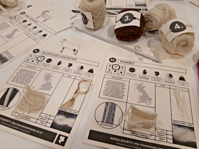 Balls of yarn and information cards - The Woolist talk - Theatr Clwyd Sept 2019
