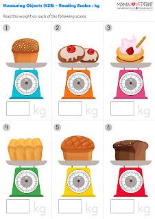 Mama Love Print K2工作紙 - 認識重量工作紙 Measuring Object Weight Level 1 - 適合 K2 免費下載 Kindergarten Math Worksheet Free Download