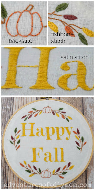 stitches used in fall embroidery design