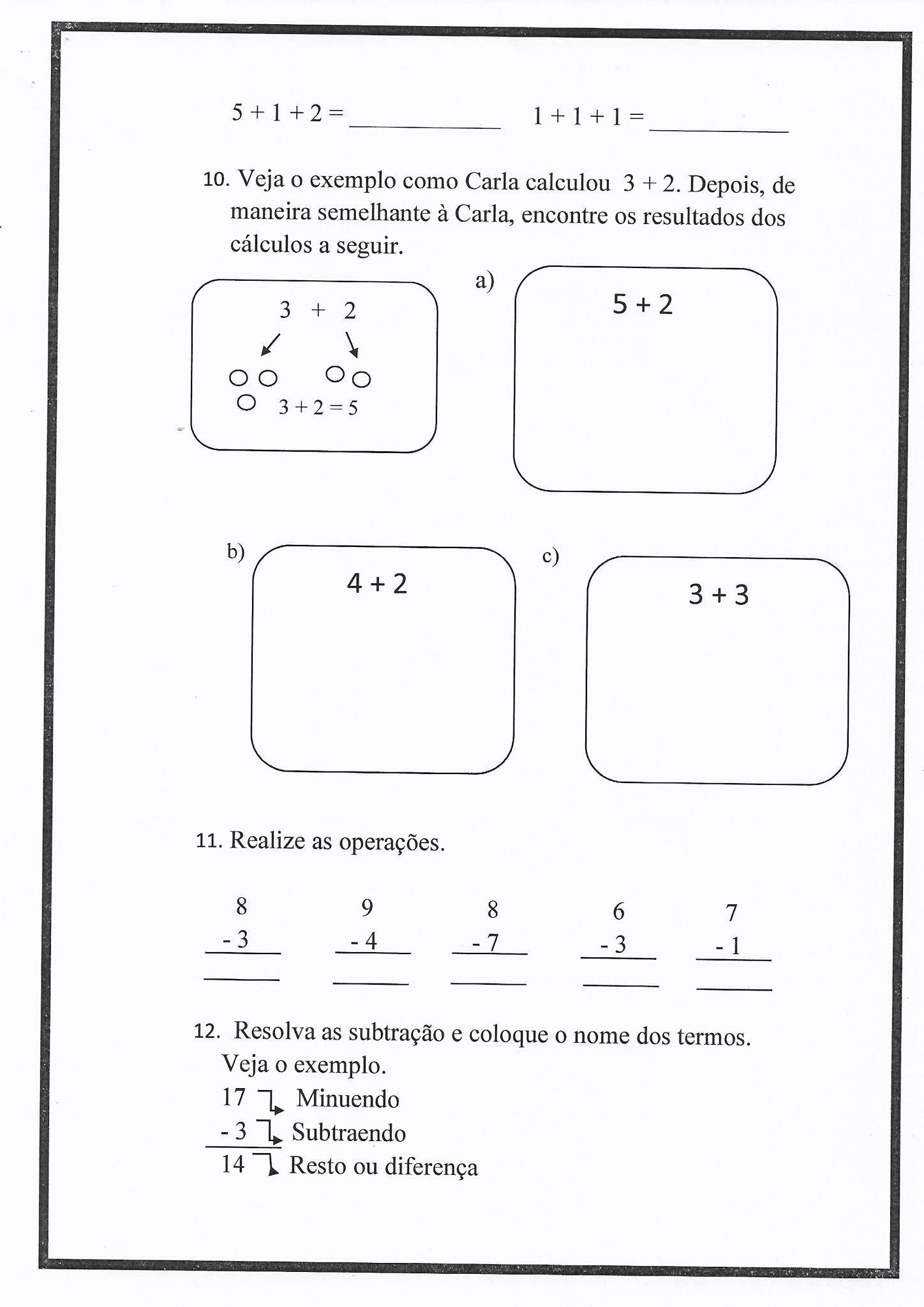 Atividade de Matemática: adição e subtração