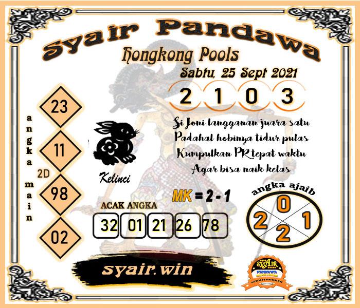 Pandawa HK Sabtu 25 September 2021 -