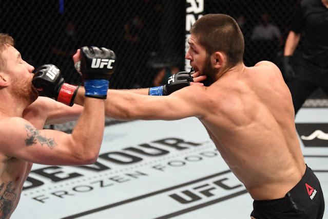 UFC 254 - Khabib Nurmagomedov Punches Justin Gaethje