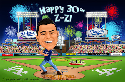 birthday caricature at los angeles dodgers match