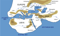 Herodotus world map with Bulgars Massagetae