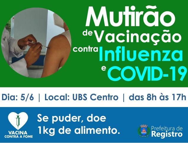 Mutirão contra Covid-19 e Influenza acontece neste sábado 5/6 na UBS Centro