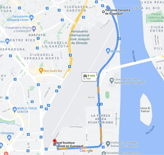 ruta desde el terminal terrestre de guayaquil al  hotel