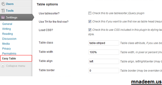 easy table WordPress Plugin