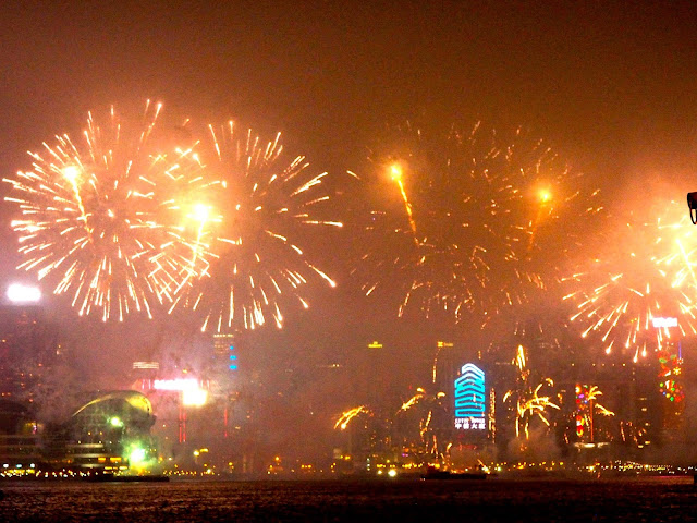 Chinese New Year fireworks viewed from Kowloon, Hong Kong