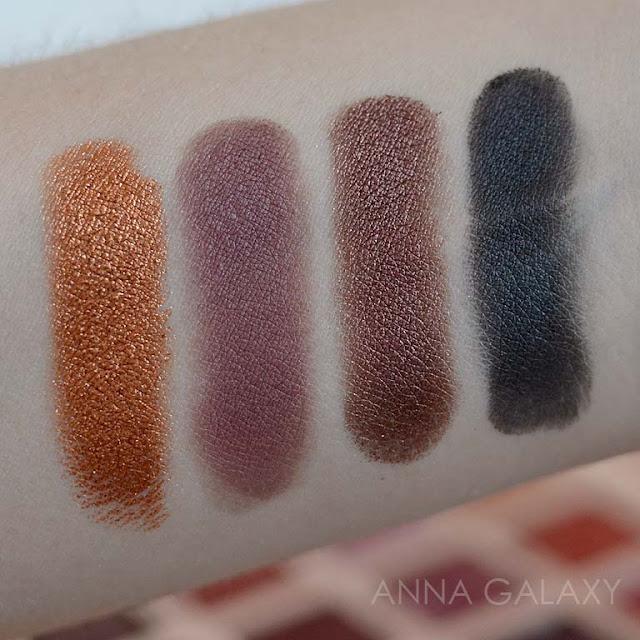 Темные оттенки свотчи  Imagic PROfessional cosmetics 16 color eyeshadow palette