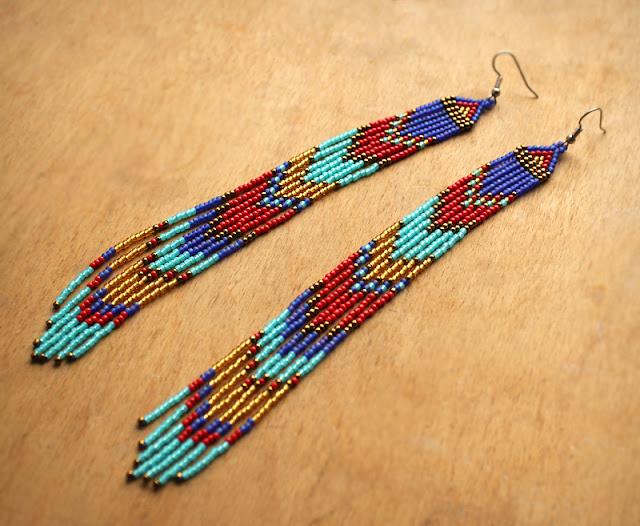 серьги очень длинные купить этнические украшения из бисера бохо