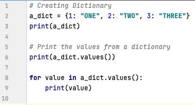 Retrieve values from a dictionary