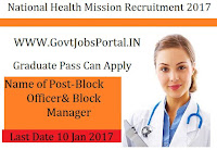 National Health Mission Recruitment 2017 for Block Manager Officer Post