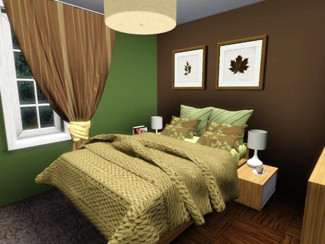 Chambre en vert et blanc terrasse en bois - Deco chambre vert et marron ...