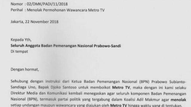 Dianggap Tak Berimbang, Kubu Prabowo - Sandi Boikot Metro TV