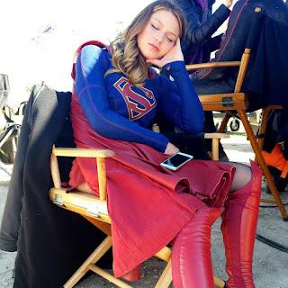 Melissa Benoist AKA Supergirl takes a nap