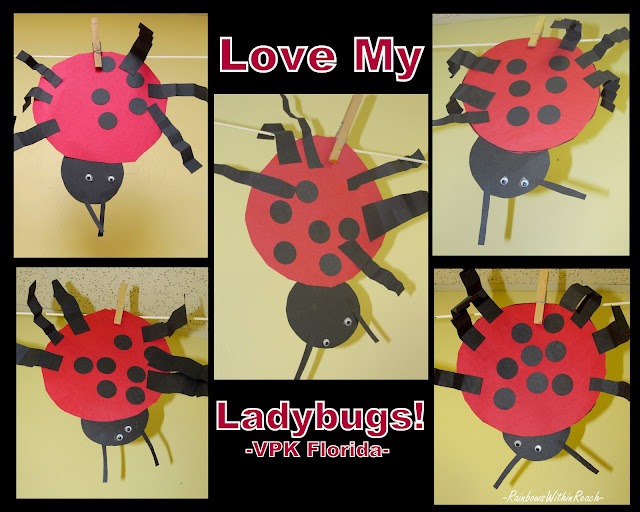 photo of: Insect craft for young children, ladybug project for kindergarten, bulletin board Head Start