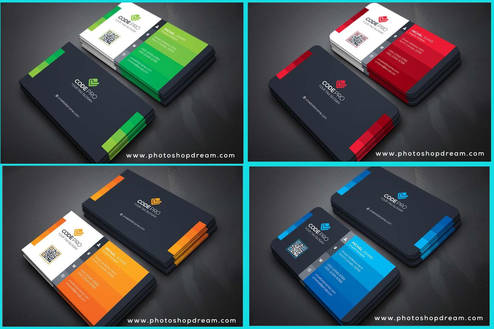AWESOME 4 Business Cards PSD Templates Free Download