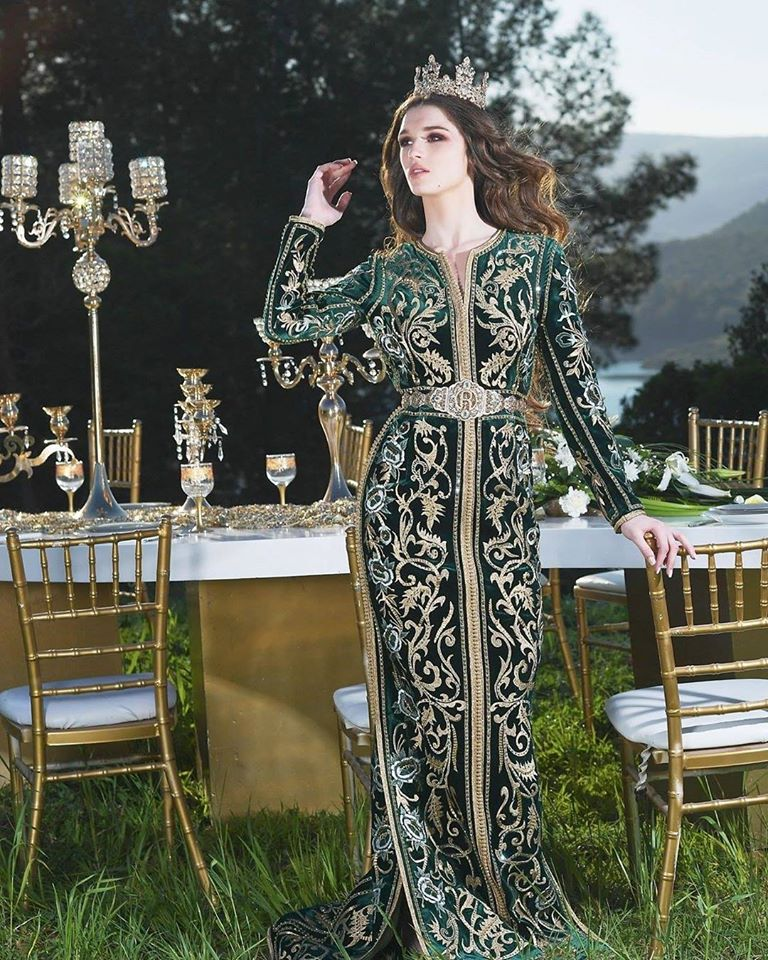 caftan velours vert royale mariée luxe 2020