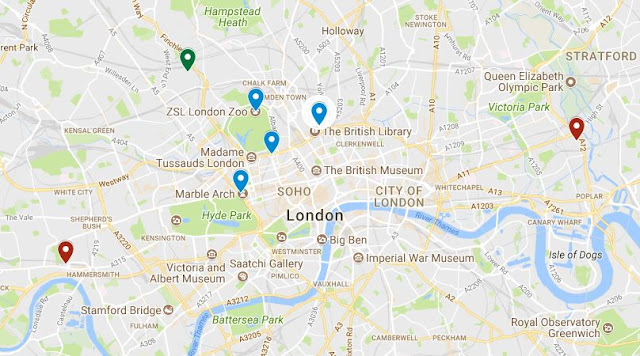 Map of London with possible locations for assignations (blue) and address of Frau Lily Knips (green).  Red markers denote Edgar Road (right) and Ravenscourt Park (left) which are unlikely locations given  their distance from central London. (map available here for further perusal)