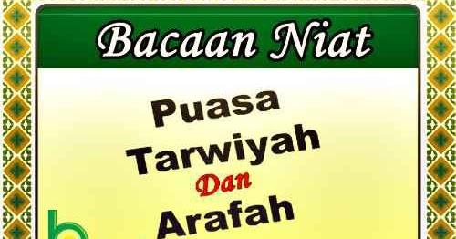 Niat Puasa Arafah Dan Tarwiyah Sebelum Idul Adha Bulan ...