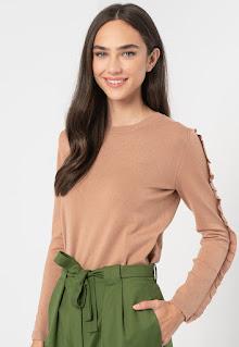 Emme - Дамски фино плетен Пуловер с набиране
