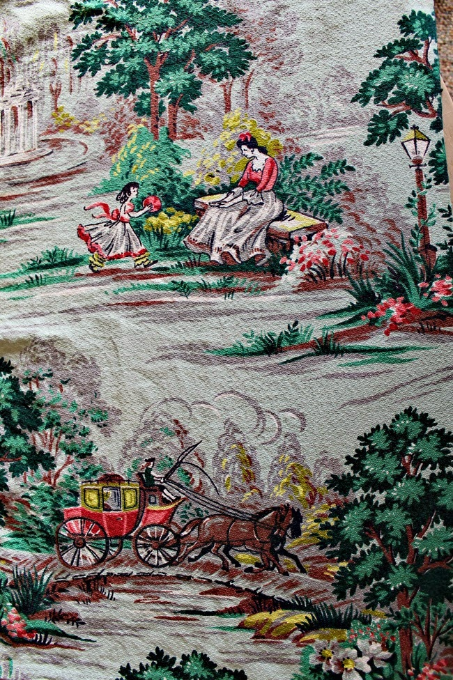 vintage 1940s 50s mid century novelty print scenery barkcloth curtain fabric
