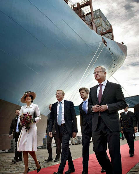 Crown Prince Frederik and Crown Princess Mary at the christening of the container ship