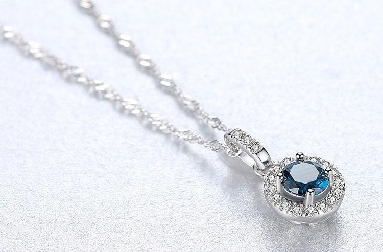 華麗風靛藍人造拓帕石 925純銀項鍊