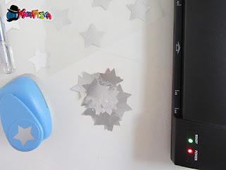 plastificare delle stelle metalliche per la tovagliette di natale