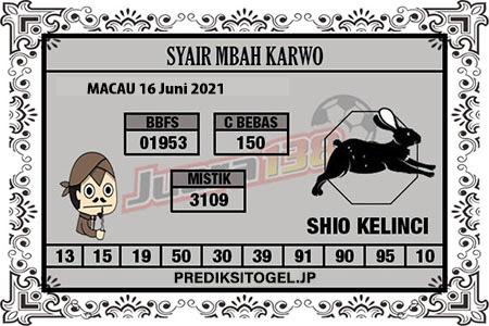 Syair Mbah Karwo Togel Macau Rabu 16 Juni 2021