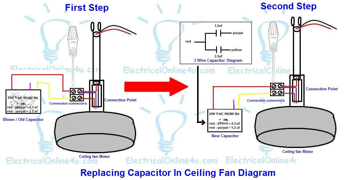Replacing Capacitor In Ceiling Fan With Diagrams ... on 3 wire hard start kit, 3 wire fan control, 3 wire ceiling fan, 3 wire fan motor, 3 wire fan wire,