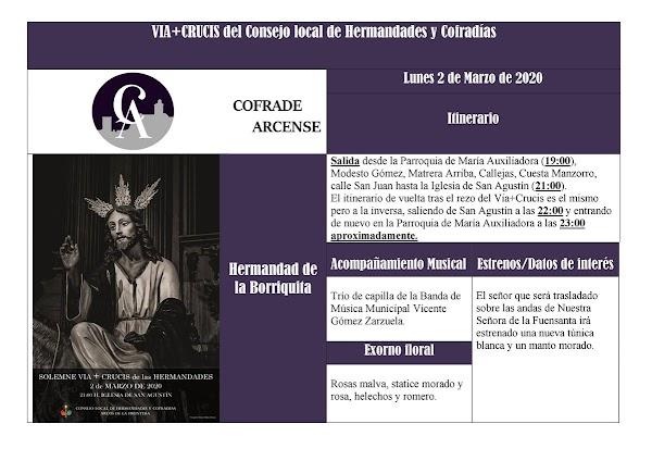 Horario e Itinerario Via Crucis Oficial del Consejo de Hermandades de Arcos de la Frontera