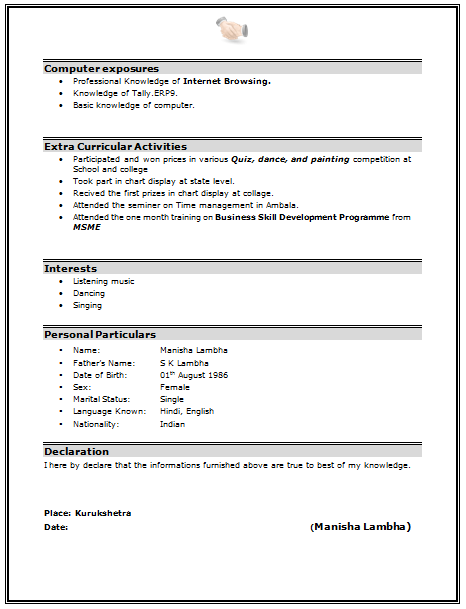 Extracurricular Activities In Resume For Freshers Sample Best