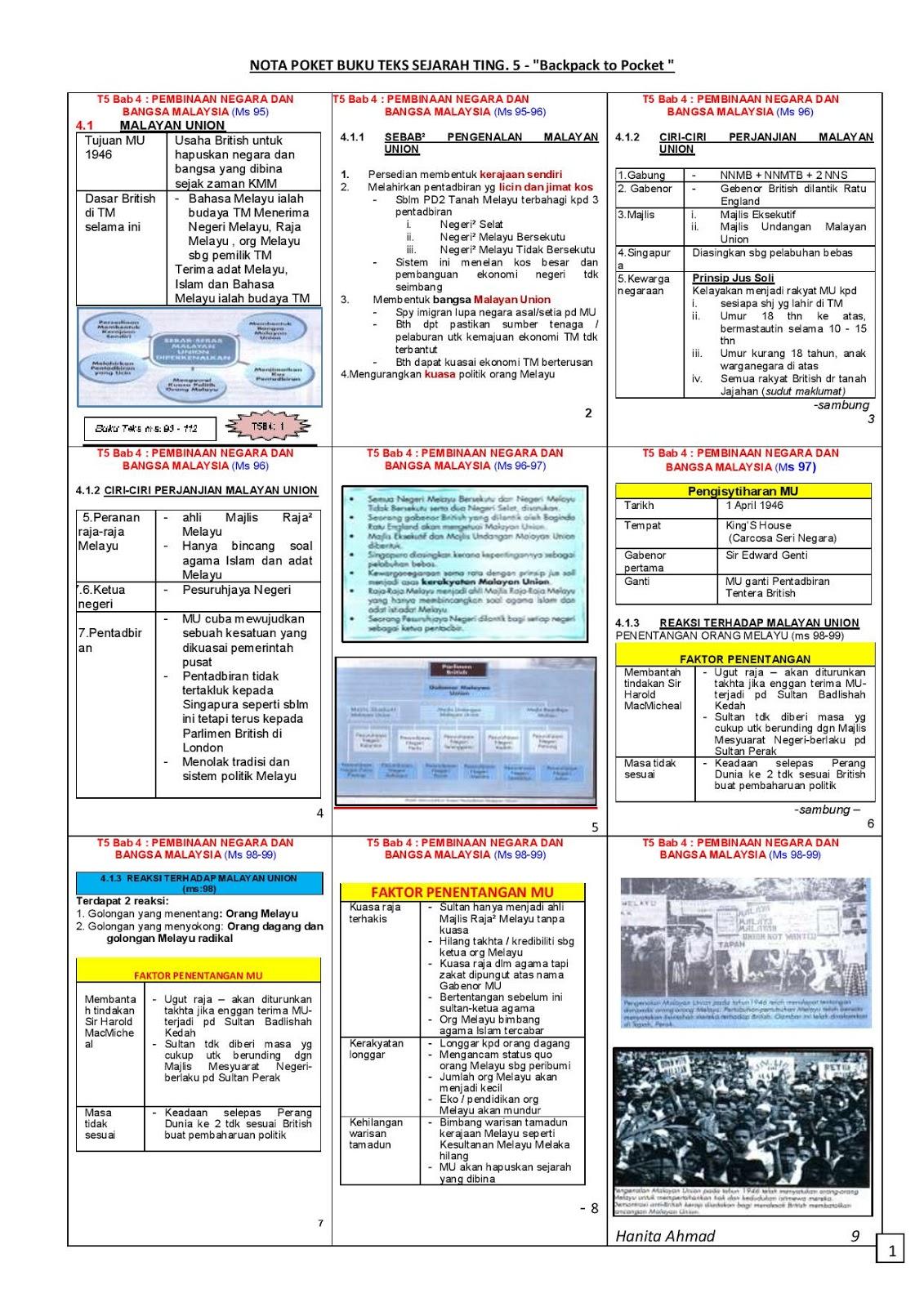Sejarah Spm Nota Padat Sejarah Tingkatan 5 Bab 4 Pembinaan Negara Dan Bangsa Malaysia