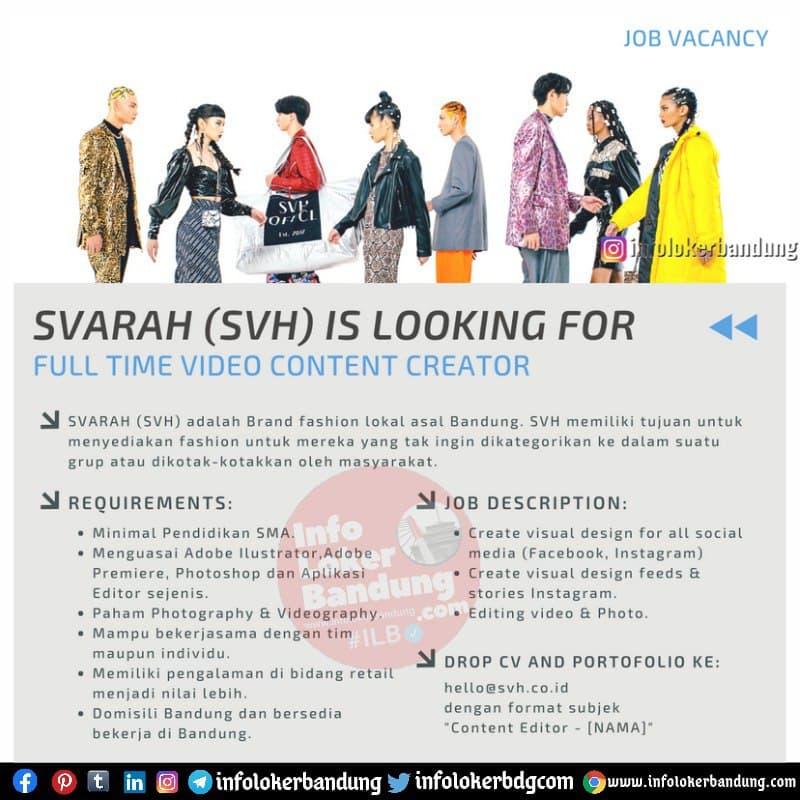 Lowongan kerja Full Time Video Content Creator Svarah (SVH) Bandung Mei 2021