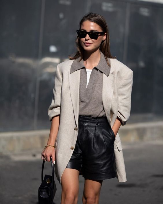 See how Sophia Roe styles her leather shorts for fall