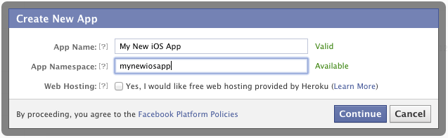 Need a Facebook App ID before you create a new project with