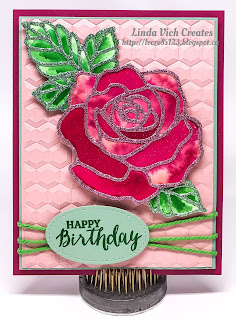 Linda Vich Creates: Floating Reinker and Watercolored Rose Wonder. A vibrantly watercolored Rose Wonder sits atop a hexagon-embossed Blushing Bride background.