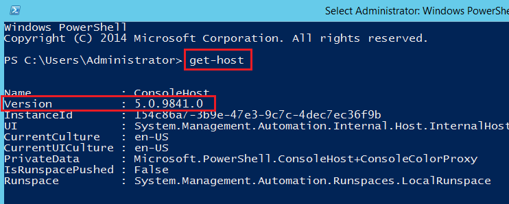 Verisón de PowerShell 5.0 en Windows Server 2015 Technical Preview