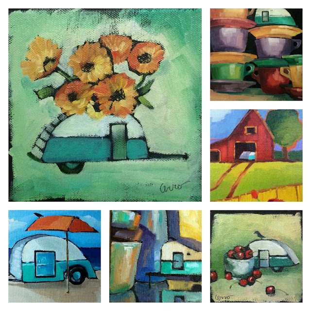 Collage of teardrop trailer paintings by Denise Cerro
