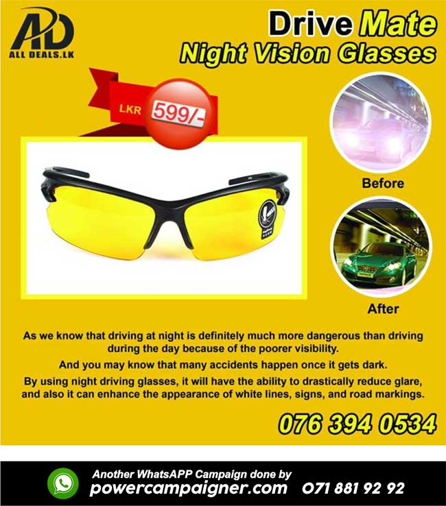 Reduce accidents wearing Night Vision Glasses.